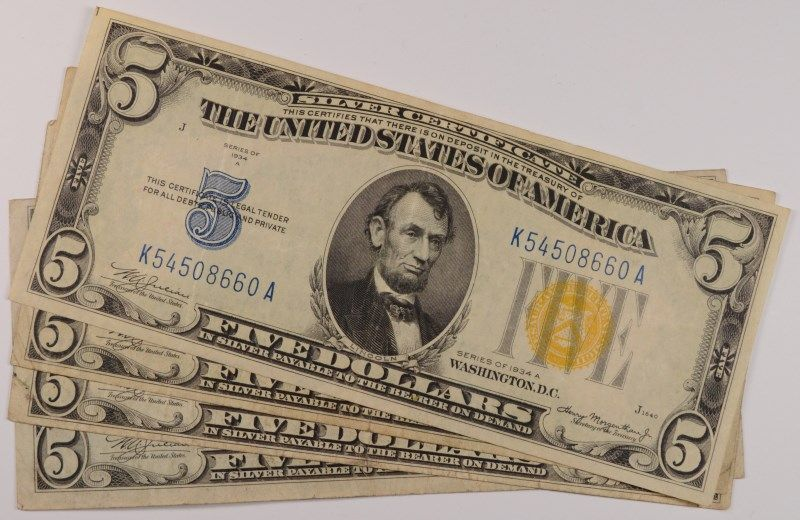 4-1934 $5 SILVER CERTIFICATES (NORTH AFRICAN)
