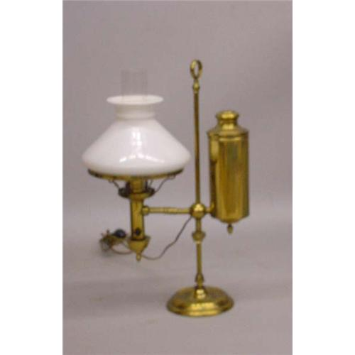 Brass student lamp signed on the shade ring cleveland safety brass student lamp signed on the shade ring cleveland safety house argand white milk glass mozeypictures Image collections