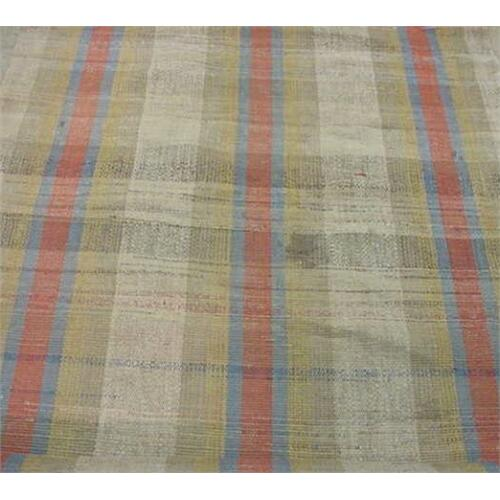 Brick Red Rag Rug: FOUR STRIPS OF PENNSYLVANIA RAG RUGS. Blue, Yellow, And