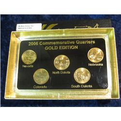905. 2006 Gold Edition Five-Piece Set of Statehood Quarters in a specialty holder. Gem BU.