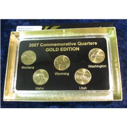 909. 2007 Gold Edition Five-Piece Set of Statehood Quarters in a specialty holder. Gem BU.