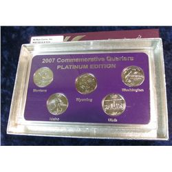 910. 2007 Platinum Edition Five-Piece Set of Statehood Quarters in a specialty holder. Gem BU.
