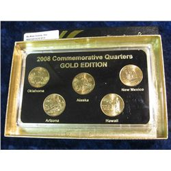 913. 2008 Gold Edition Five-Piece Set of Statehood Quarters in a specialty holder. Gem BU.