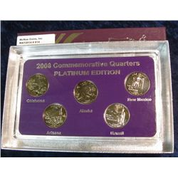 914. 2008 Platinum Edition Five-Piece Set of Statehood Quarters in a specialty holder. Gem BU.
