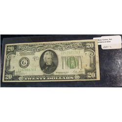 "934. Series 1928 B $20 Federal Reserve Note. Chicago, Illinois. ""Redeemable in Gold on Demand at the"