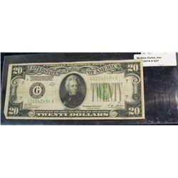 "937. Series 1928 B $20 Federal Reserve Note. Chicago, Illinois. ""Redeemable in Gold on Demand at the"