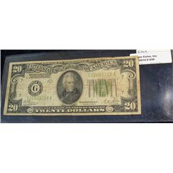 "939. Series 1928 B $20 Federal Reserve Note. Chicago, Illinois. ""Redeemable in Gold on Demand at the"