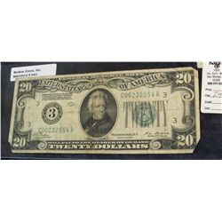 "943. Series 1928 $20 Federal Reserve Note. Philadelphia, Pennsylvania. ""Redeemable in Gold on Demand"