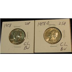 1002. 1958 P & D Silver Washington Quarters. Beautifully Brilliant MS 65.