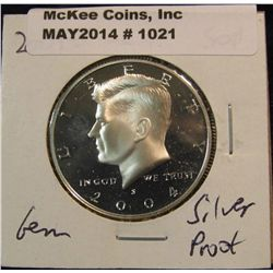 1021. 2004 S Kennedy Silver Half Dollar. Cameo Frosted Proof 67.
