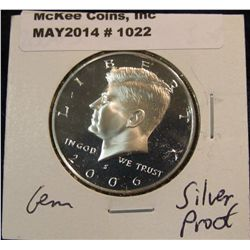 1022. 2006 S Kennedy Silver Half Dollar. Cameo Frosted Proof 67.