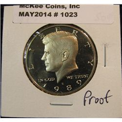1023. 1989 S Kennedy Half Dollar. Cameo Frosted Proof 65.