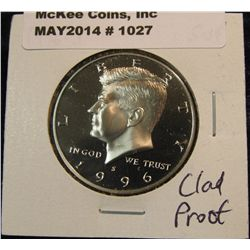 1027. 1996 S Kennedy Half Dollar. Cameo Frosted Proof 65.