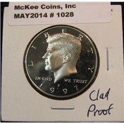 1028. 1997 S Kennedy Half Dollar. Cameo Frosted Proof 65.