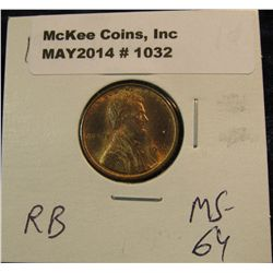 1032. 1909 P VDB Lincoln Cent. Red MS 64.