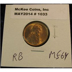 1033. 1909 P VDB Lincoln Cent. Red MS 64.