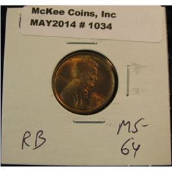 1034. 1909 P Lincoln Cent. Red MS 64.