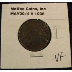 1035. 1864 U.S. Two cent Piece. Nice chocolate Brown VF.