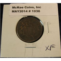 1036. 1864 U.S. Two cent Piece. Nice chocolate Brown VF-EF..