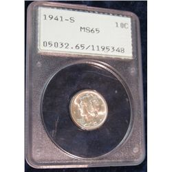 1039. 1941 S Mercury Dime slabbed MS 65 by PCGS.