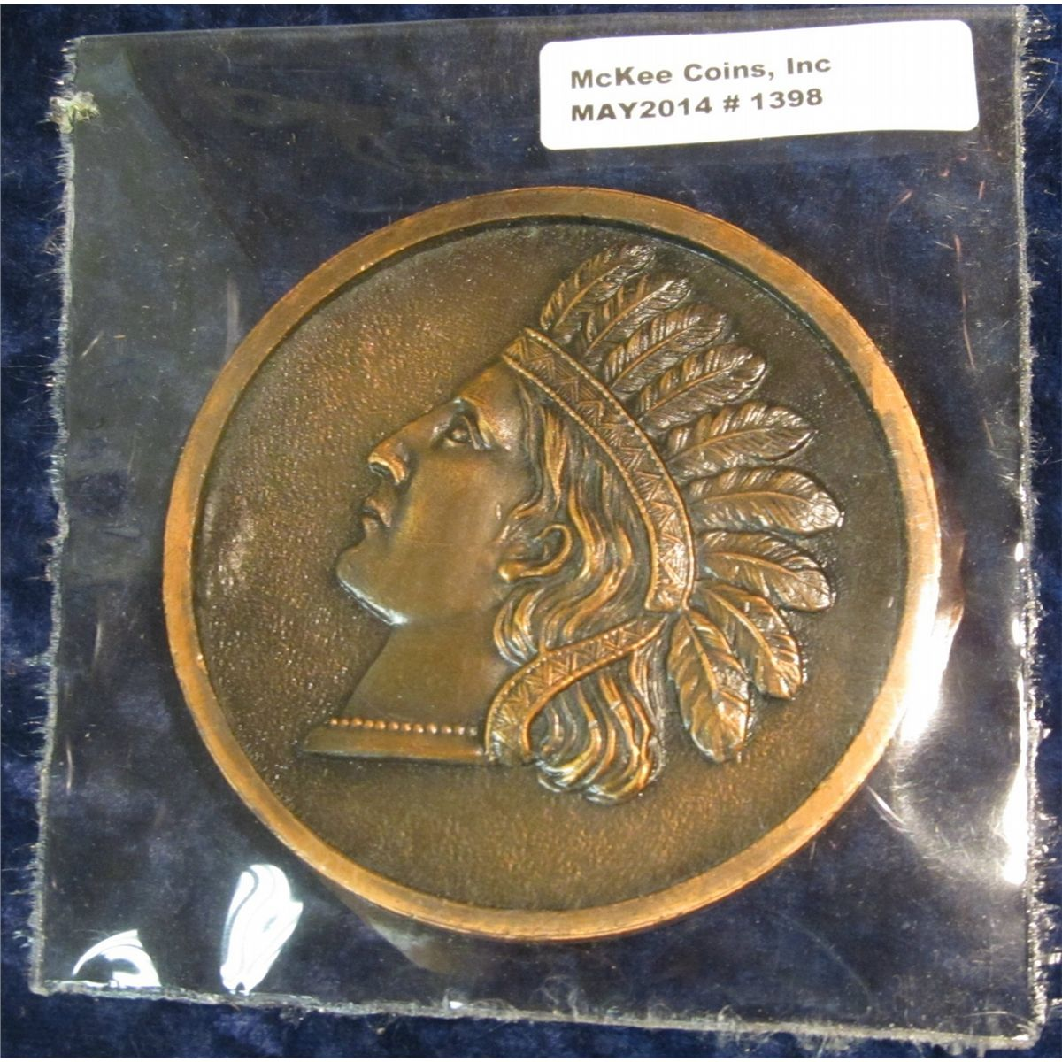 "1398. Large Souvenir Indian Penny of Ausable Chasm. 3"" diameter. Rare and  unlisted in ""Large Lucky"