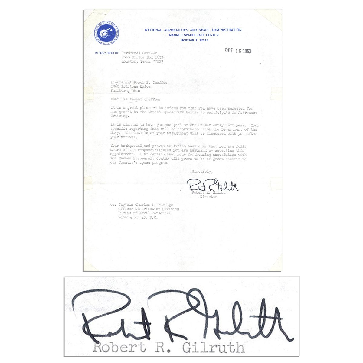 roger chaffee s astronaut acceptance letter signed by nasa roger chaffee s 1963 astronaut acceptance letter signed by nasa director gilruth great plea
