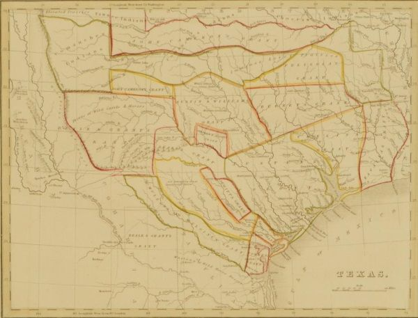 1835 Texas Land Grant Map Stephen F Austin Colony