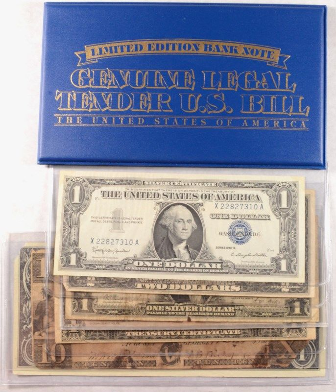 CURRENCY LOT (2) ONE DOLLAR SILVER CERTIFICATES 1928 & 1957, 1928 ...