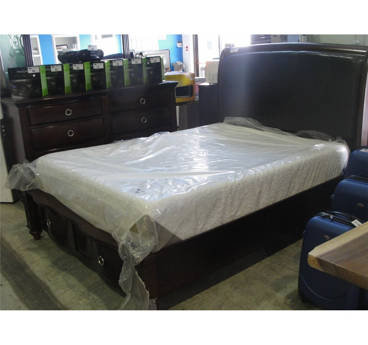 Queen size headboard footboard and rails set with drawers for Queen size footboard