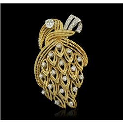 18KT Yellow Gold 1.59ctw Diamond Brooch A8578