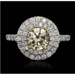 GIA Certified 14KT White Gold 1.00ct Yellow Diamond Ring A5361