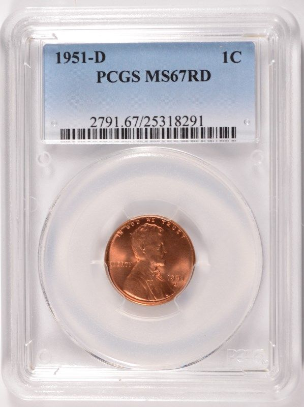 Image 1 1951 D LINCOLN CENT PCGS MS67 RD