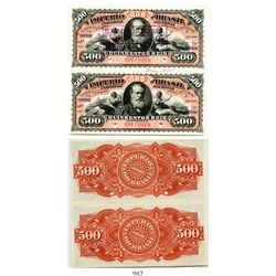 Brazil (Empire), uncut pair of National Treasury specimen banknotes for 500 reis (each), portrait of