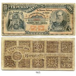 Brazil (Empire), National Treasury banknote for 20 mil reis, portrait of Pedro II at right, estampa