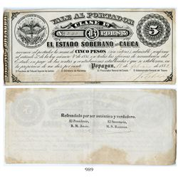 Popayan, Colombia, Estado Soberano del Cauca, uniface 5 pesos certificate, dated February 18, 1882,