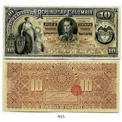 Colombia, Banco Nacional, 10 pesos banknote, dated March 4, 1895, Series A, number 570887.