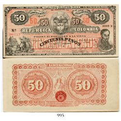Colombia, Banco Nacional, 50 pesos banknote, dated September 30, 1900, Series B-C, number 96732.