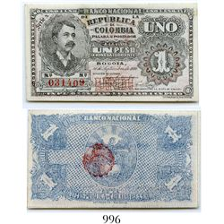 Colombia, Banco Nacional, 1 peso banknote, dated September 30, 1900, Series N, number 031409.