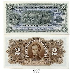 Colombia, Banco Nacional, 2 pesos banknote, dated April 1904, number 1976528.