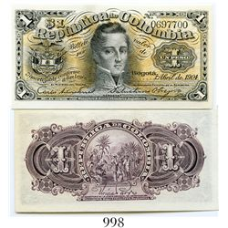 Colombia, Banco Nacional, 1 peso banknote, dated April 1904, number 0697700.
