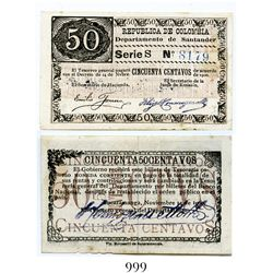Colombia, Departamento de Santander, 50 centavos banknote, dated November 14, 1900, Series S, number