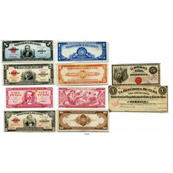 Lot of 6 Republic of Cuba banknotes, as follows: 5 pesos, 1869, Series D, number 10300; Junta Centra