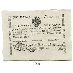 Mexico (Empire), uniface 1 peso certificate, 1823, number 43,394.