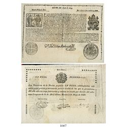 Mexico (Empire), 1 peso certificate (large), 1823, number 116430.