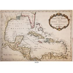 Italian copperplate-engraved map of the Gulf of Mexico and the Antilles by Jacques Nicolas Bellin (d