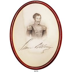 Engraving of Simon Bolivar with facsimile signature, in oval wood frame, ca. 1870.