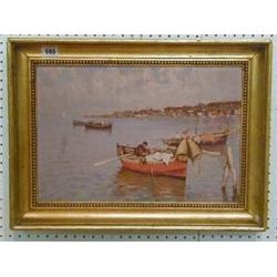 "A Barbierri, an oil painting on board ""Meditteranean Bay with Fishing Boats"" 11"" x 16"" £700-800..."