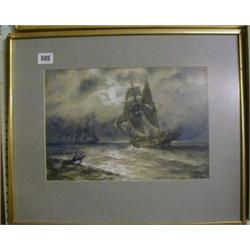 "M S Moore, 19th Century watercolour drawing ""Moonlight Sea Scape with Pirate Ship"" 9"" x 13"" signe..."