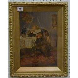 "Italian School, oil painting on board ""Seated Cavalier with a Rook"" 12"" x 8"" with inscription to..."
