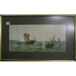 "Brun Egan, watercolour drawing ""Fishing Boats in Heavy Sea"" 9"" x 19"" signed and dated £150-200..."
